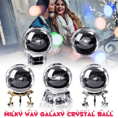 6CM Diameter Globe Milky Way Galaxy Crystal Ball 3D Engraved Glass Ball Sphere for Gifts Home Decor Engraved Crystal Barware
