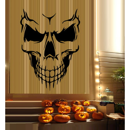 HALLOWEEN DECOR ~ Scary Skeleton Face #6 ~ HALLOWEEN: WALL OR WINDOW DECAL, 16