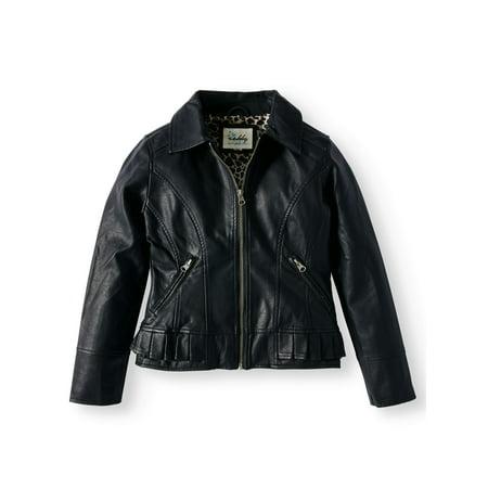 Faux Leather Ruffle Hem Jacket (Big Girls)