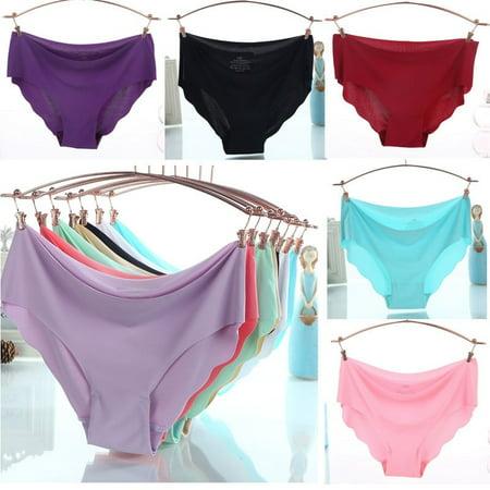 Women Solid Seamless Panties Briefs Underwear Lingerie Knickers Thongs