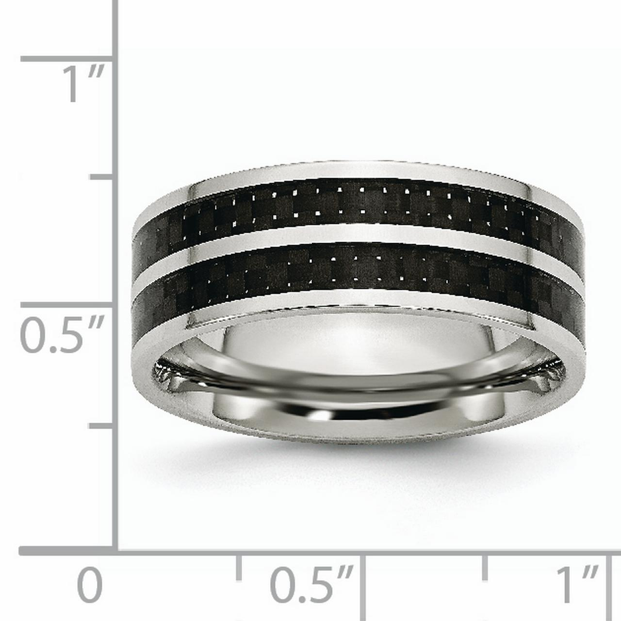 Stainless Steel 8mm Double Row Black Carbon Fiber Inlay Polished Band Ring 7.5 Size - image 4 de 6