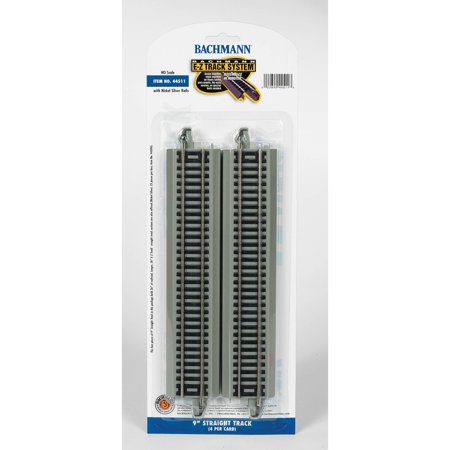 Bachmann Trains HO Scale 9 inch Straight Nickel Silver E-Z Track - 4 Pack