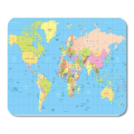 POGLIP Detailed Political World Map Countries Cities Water All are Separated Mousepad Mouse Pad Mouse Mat 9x10 inch - image 1 de 1