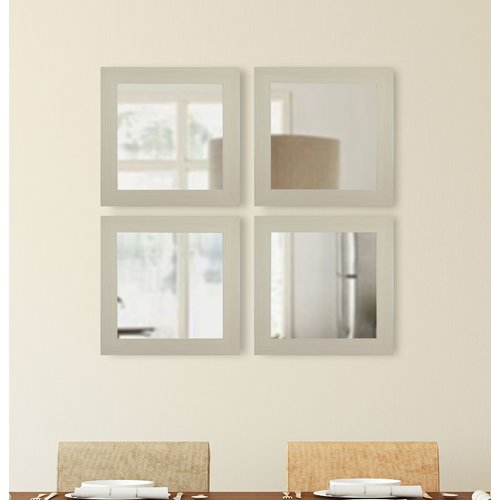 Brayden Studio Square Ivory Wall Mirror (Set of 4)
