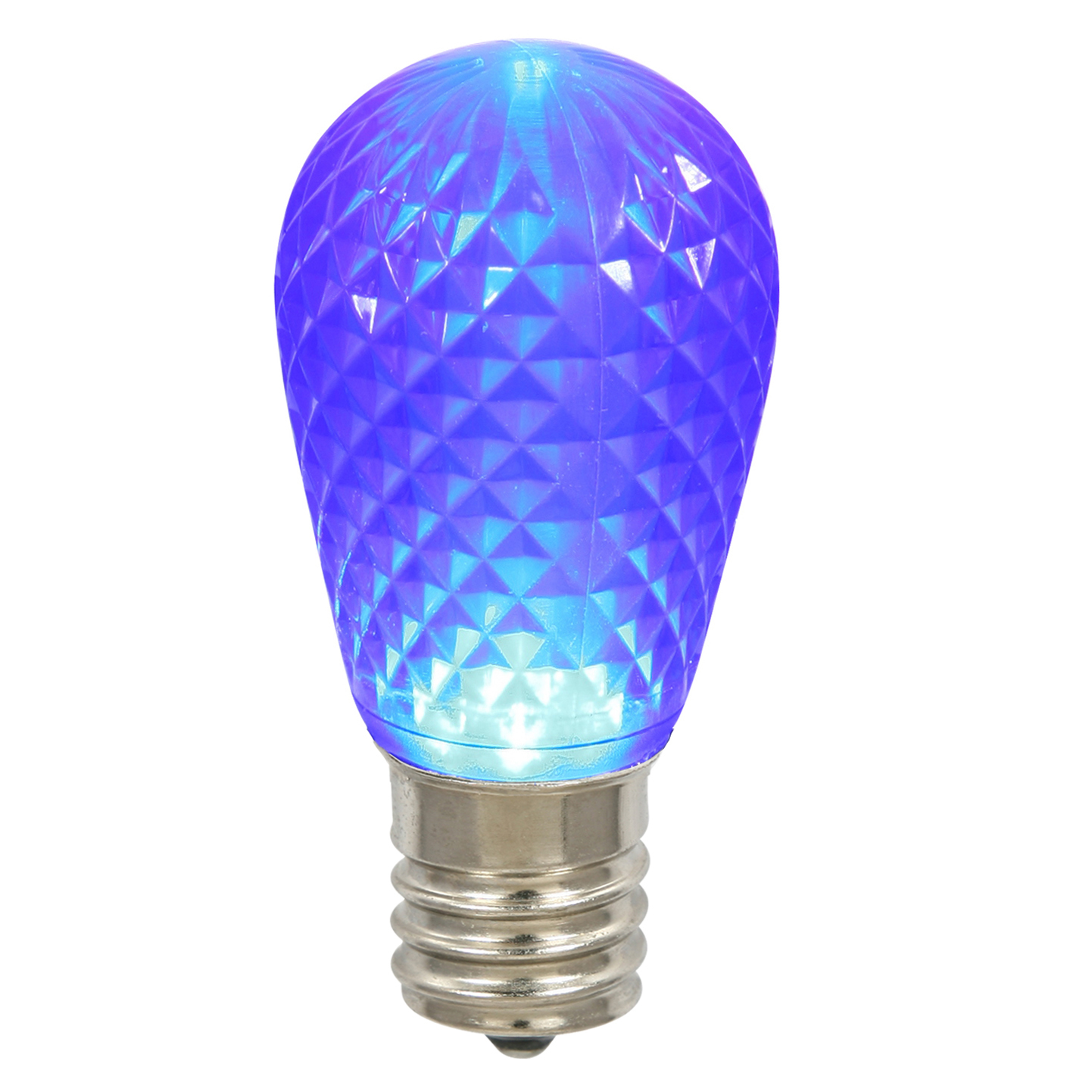 Vickerman S14 Faceted LED Blue Lamp E26 .96W