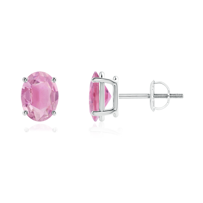 Mother's Day Jewelry Prong-Set Oval Solitaire Pink Tourmaline Stud Earrings in 950 Platinum (8x6mm Pink Tourmaline)... by Angara.com