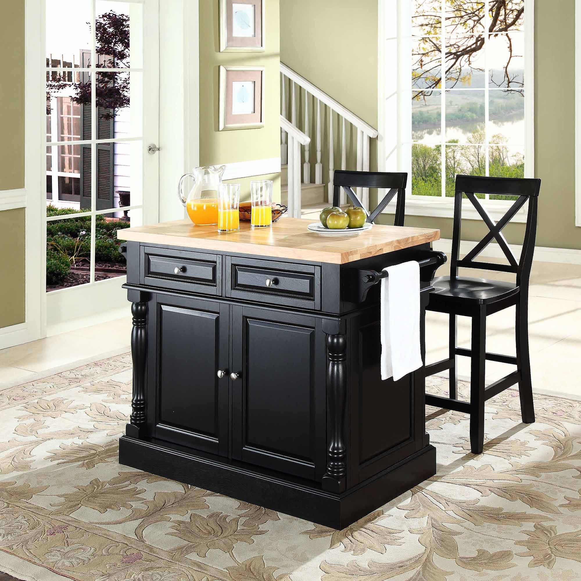 crosley furniture butcher block top kitchen island with 24   x back stools crosley furniture butcher block top kitchen island with 24   x back      rh   walmart com