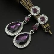 Wedding Jewelry Rhinestone Style Wedding Earrings For Women Purple