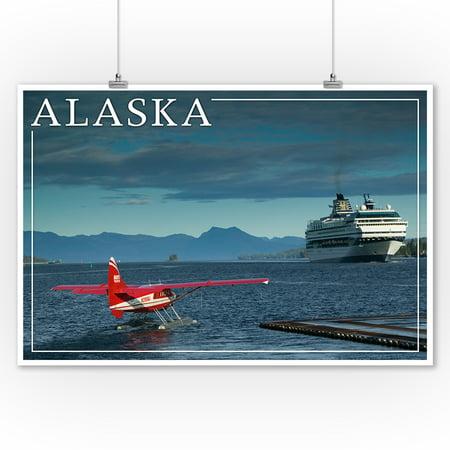 Alaska - Float Plane & Cruise Ship - Lantern Press Photography (9x12 Art Print, Wall Decor Travel Poster) (Cruise Ship Decor)