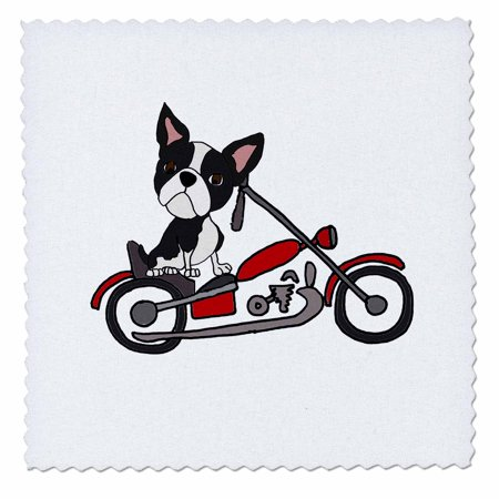 3dRose Funny cute Boston Terrier Dog Riding Motorcycle - Quilt Square, 8 by 8-inch ()