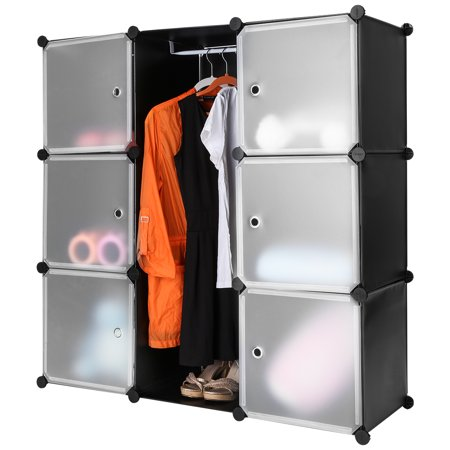 (CUBE 9 W/ DOOR B&W) LANGRIA 9-Cube Black Interlocking Modular Storage Organizer Shelving System Closet Wardrobe Rack with Translucent White Doors for Home Clothes Shoes Toys Knickknacks Storage Displ