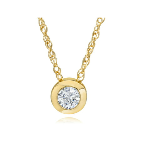 "Pompeii3 14K Yellow Gold 1/4ct Round Diamond Solitaire Bezel Pendant & 18"" Chain"