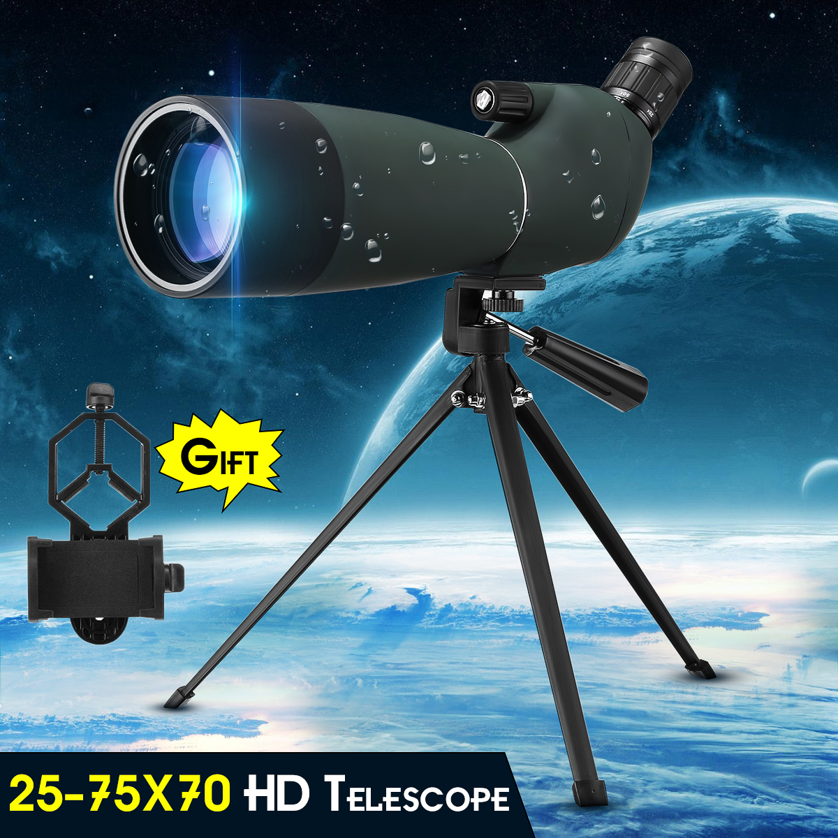 Day/Night Vision 25-75X70 Zoom HD Monocular Spotting Scope Waterproof BAK4 Astronomical Telescope with Tripod & Phone Adapter