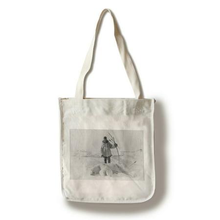 Eskimo Hunter with Polar Bear Photograph (100% Cotton Tote Bag - Reusable) - Eskimo Girl