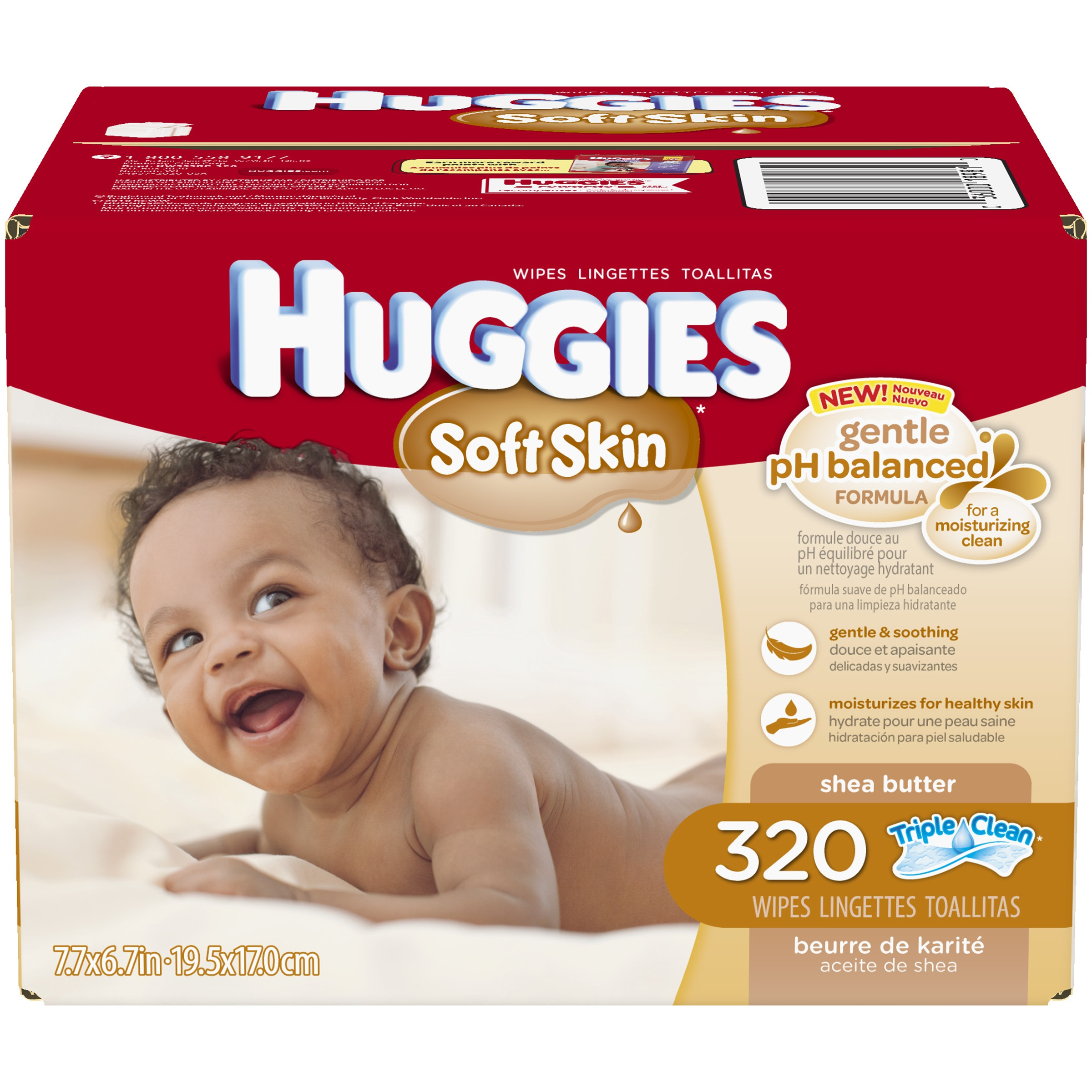 HUGGIES Soft Skin Shea Butter Thick 'n' Clean Wipes, 320 count