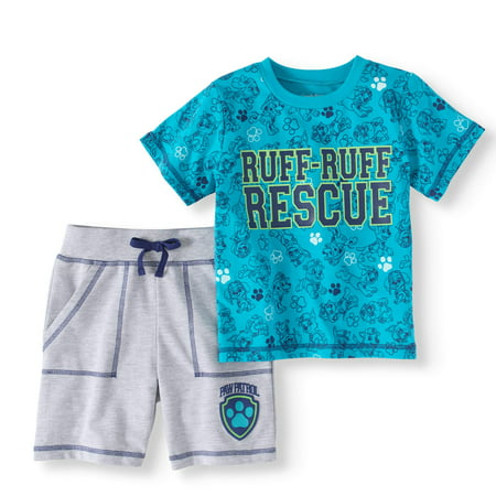Naughty Angel Outfit (Paw Patrol Toddler Boy T-shirt & French Terry Shorts 2pc Outfit)