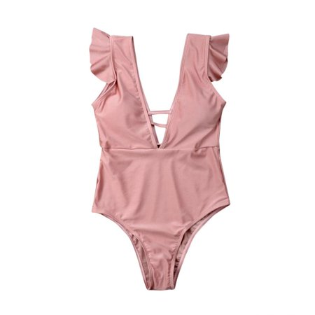 6bae76278a3 Emmababy - Mommy and Me One Piece Swimsuit Ruffle Solid Color Bathing Suit  Family Matching Swimwear - Walmart.com