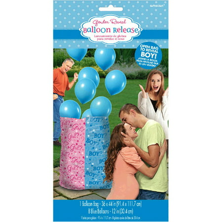 Baby Shower Gender Reveal 'Girl or Boy' Boy Balloon Release Kit (9pc) - Baby Gender Reveal Party Supplies