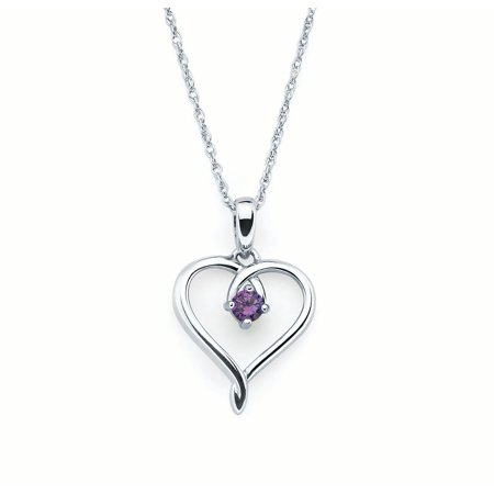 Sterling Silver Amethyst February Birthstone Heart Pendant Necklace, (Purple Amethyst Crystal)