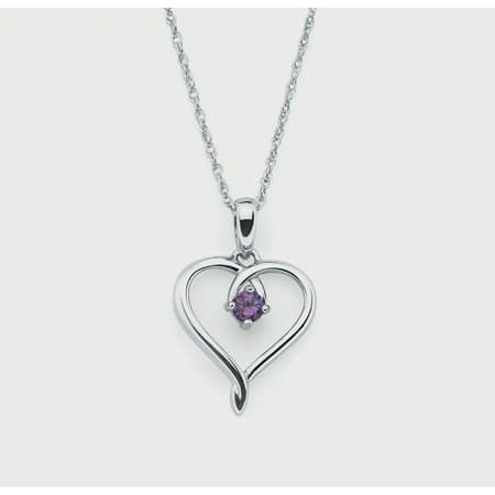 Sterling Silver Amethyst February Birthstone Heart Pendant Necklace, (Purple Pearl Cluster)