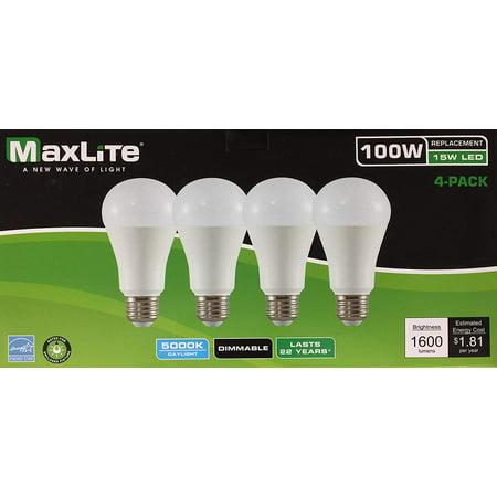 4 Maxlite Dimmable LED Daylight Light Bulb 15-Watt 100 Watt replacement 5000k