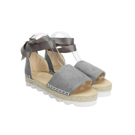 adab4e0ecfd Summer Fashion Womens Espadrille Sandals Anke Strap Ribbon Peep Toe Summer  Flat Casual Shoes - Walmart.com
