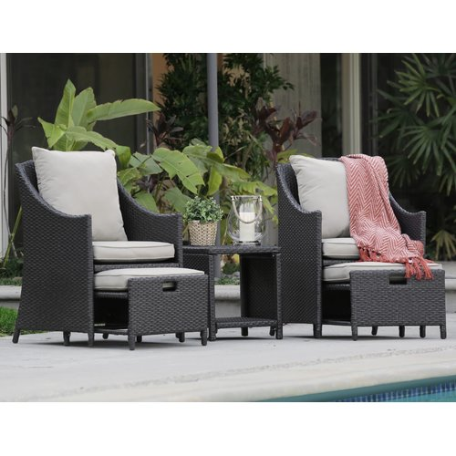 Serta Laguna Outdoor 5-Piece Set Brown Wicker by Millwork Holdings Co., Inc.