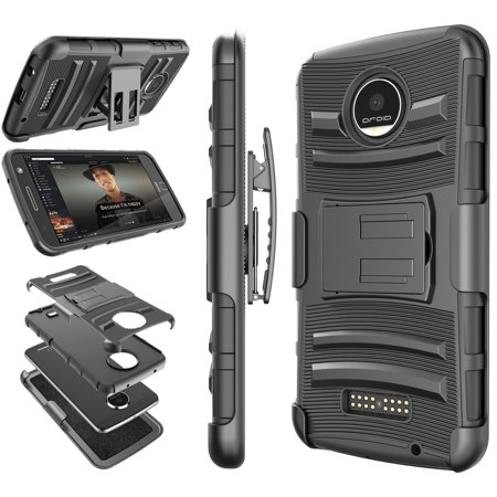 new style e5be6 94f85 Moto Z Play Case, Moto Z Force Holster Belt, Tekcoo [Hoplite] Shock  Absorbing Locking Clip Defender Heavy Full Body Kickstand Carrying Armor  Cases ...