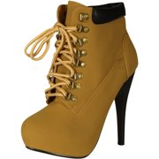 Forever Link Womens Compose-01 Tyrant Military Lace Up Platform Ankle Bootie