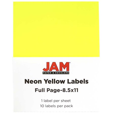 jam paper full page labels 8 5 x 11 sticker paper neon yellow 10