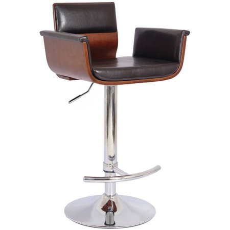 Image of AC Pacific Modern Padded Wood Back Adjustable Swivel Bar with Armrests and Cushion
