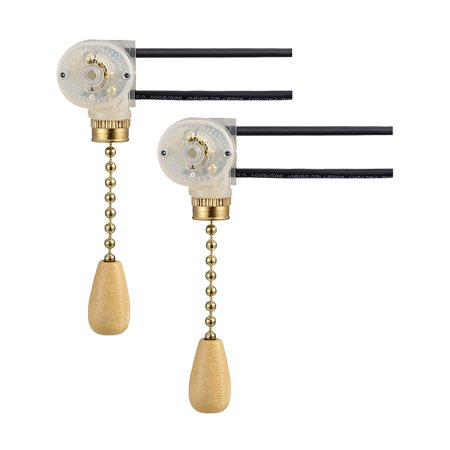 Fan Light Switchs Wood Knob with 2-inch Golden Pull Chain (Pack of 2 sets)