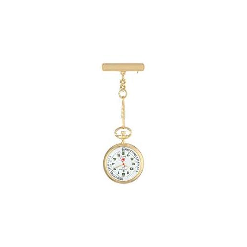 Charles Hubert  Gold-finish White Dial Nurse Watch with Pin