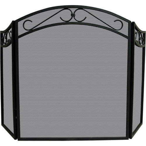 Blue Rhino UniFlame Tri-Fold Wrought Iron Screen with Arch, Black