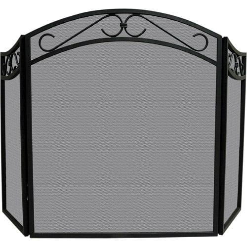 Blue Rhino UniFlame Tri-Fold Wrought Iron Screen with Arch, Black