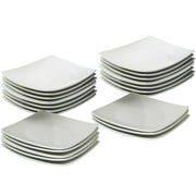 "10 Strawberry Street 24-Piece 6"" Coupe Square Appetizer Plates, White"