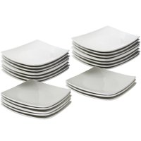 """10 Strawberry Street 24-Piece 6"""" Coupe Square Appetizer Plates, White"""