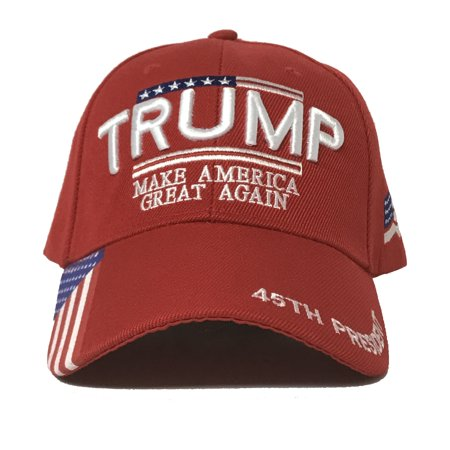 Trump     Make America Great Again   3D Embroidery With American Flag And   45Th President   Embroidered On The Visor   Baseball Cap  Maga
