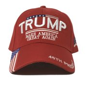 """Trump - """"Make America Great Again"""" 3D Embroidery with American Flag and """"45th President"""" Embroidered on the visor - Baseball Cap #MAGA"""