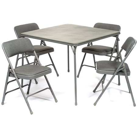 5pc. XL Series Folding Card Table and Triple Braced Fabric Padded ...
