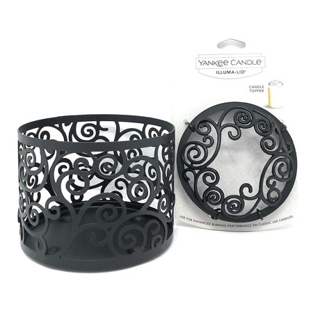 Yankee Candle Black Scroll Jar Holder & Illuma-lid Jar Candle Topper Set Gift Set (Yankee Candle Tarts Set)