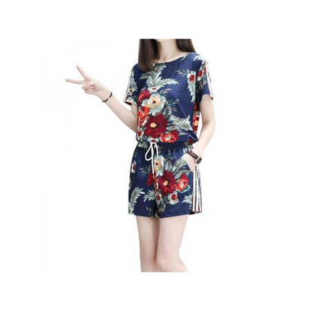 VICOODA Women Floral Printed Two Piece Outfits Short Sleeve Crop Top Tshirt Shorts Pants Sets Large Size 2 Piece Overall Short
