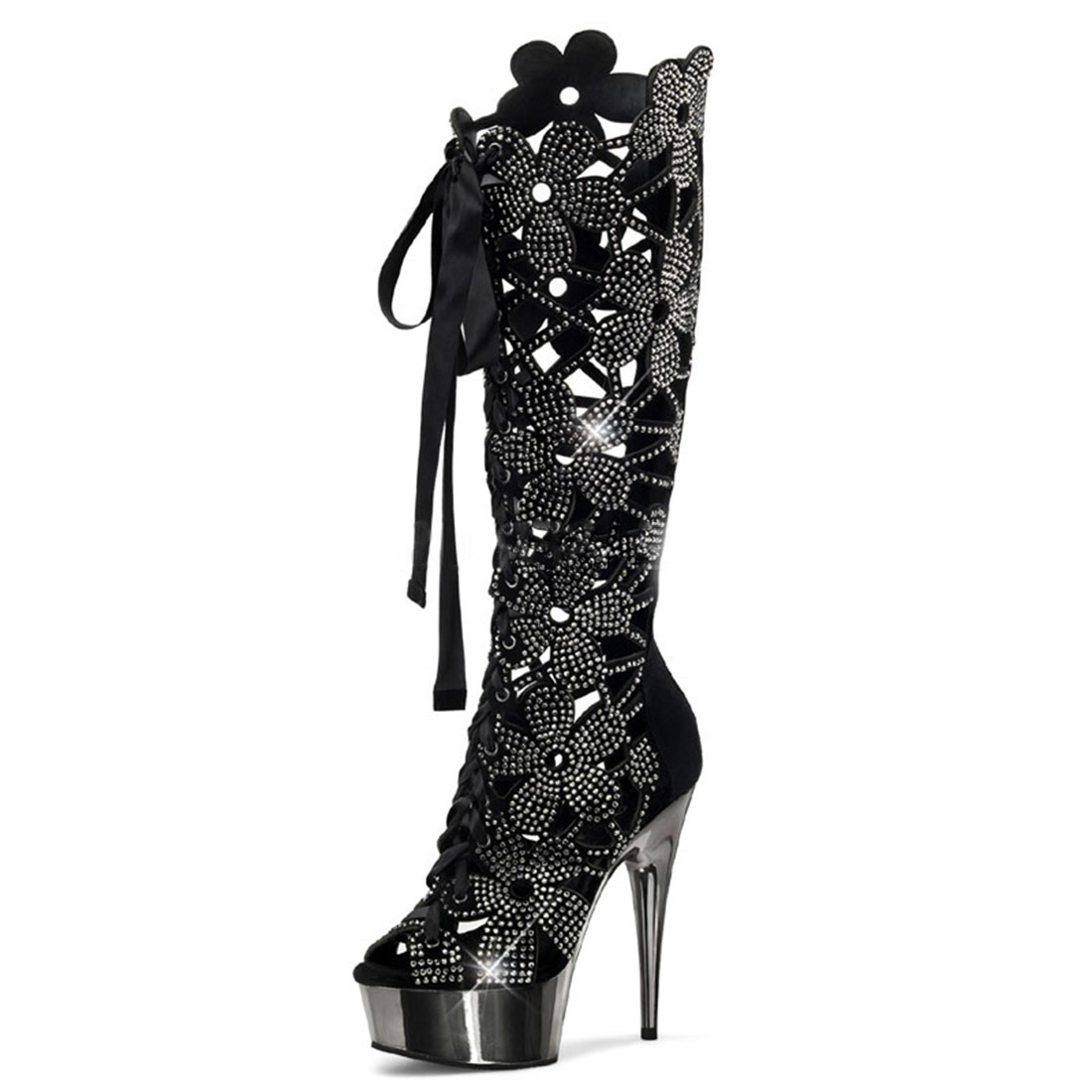 Black Velvet Suede Floral Cutout Knee High Platform Boots with 6 Inch Heels