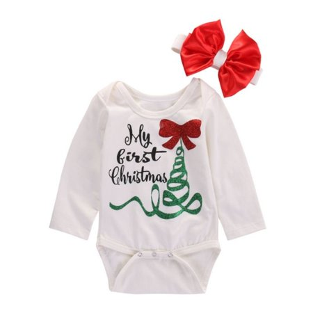 Newborn Baby Girls Clothing Bodysuits Xmas Long Sleeve Jumpsuit Headband Christmas Baby Girls Clothes Outfits for $<!---->