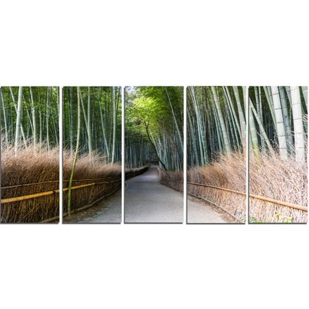 Design Art Straight Path In Bamboo Forest 5 Piece Photographic Print On Wrapped Canvas Set