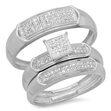 0.30 Carat (ctw) Sterling Silver Round White Diamond Men & Women's Micro Pave Engagement Ring Trio Bridal Set 1/3 CT Diamond Micro Pave Ring