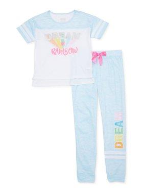 Sleep On It Girls 7-16 Short Sleeve & Jogger 2-Piece Pajama Set