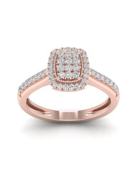 1/3Ct TDW Diamond 10k Rose Gold Emerald Shape Composite Engagement Ring