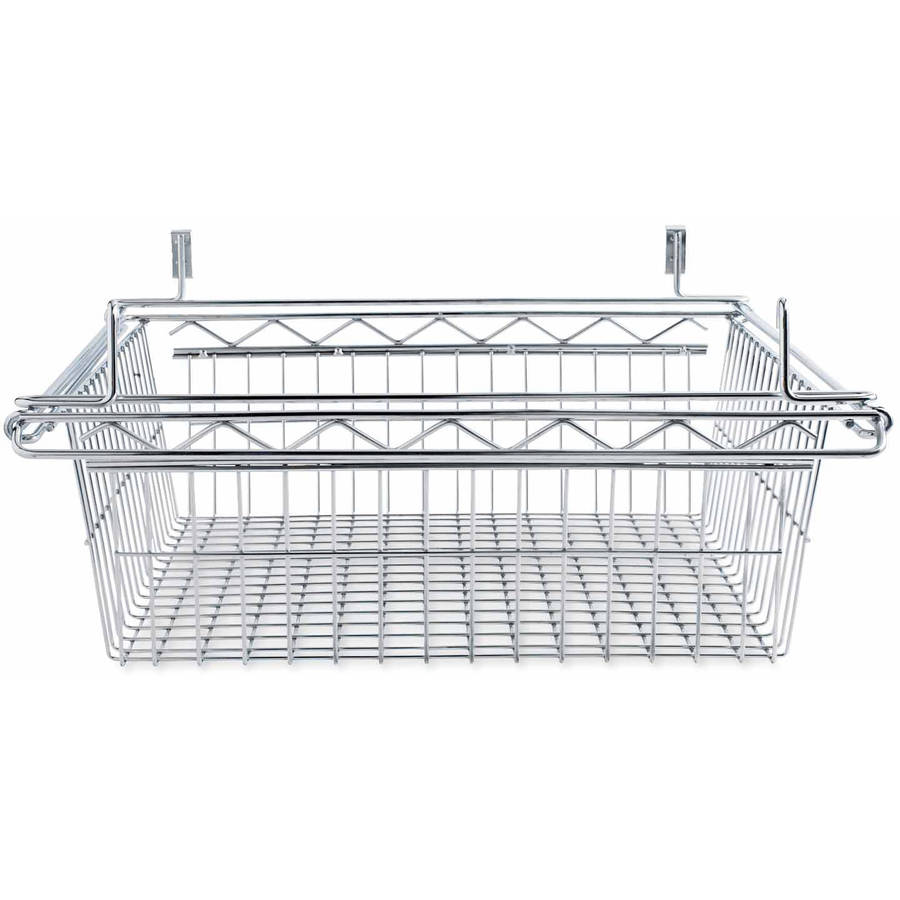 Alera Sliding Wire Basket for Wire Shelving, Silver, Available in Multiple Sizes