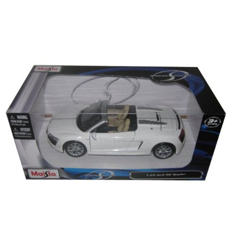Audi R8 Spyder V10 White 1:24 Diecast Model Car, Die-cast metal body with plastic parts By Maisto Tech](Plastic Cars)